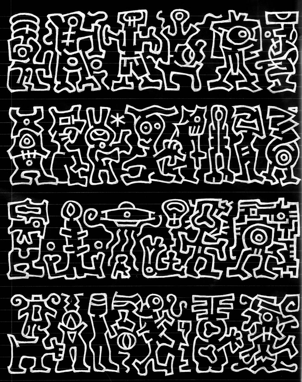 asemic writing - sequence of glyphs, like more complex versions of rongorongo